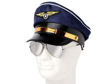 Pilotenmütze Blau Pilotenbrille Kapitän Brille Mütze Fliegermütze Damen Herren