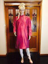 "42"" L Silk Sherwani Suit Indian Bollywood Mens Kurta Plum Purple Kurtha KT15"