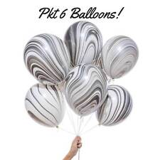 Black & White Marble Balloons Swirl Monochrome Party Supplies Decorations 6pk