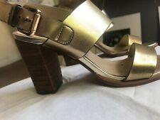 London rebel Gold block heel sandals size 5