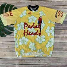 Pactimo Mens Pedal Head Cycling Jersey Size XL Yellow Parrot Hawaiian Floral