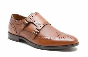 Red Tape Danson Mens Leather Double Monk Shoes Tan