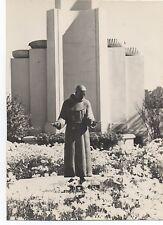 1939 Photo of Art Deco Building & Monk at the GGIE World's Fair San Francisco CA