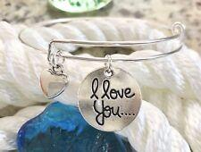 I Love You & a Silver Heart bright Silver charm Expandable Bangle Bracelet