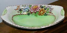 More details for vintage maling green peony rose design oval bowl #6569 24cm long