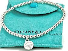 Return To Tiffany & Co Mini 4mm Bead Ball Circle Charm 7.5in Bracelet Pouch 206B
