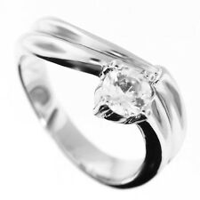 Ladies 5mm Clear CZ Silver Rhodium Plated Ring Size 7