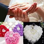 Romantic Rose Wedding Favors Heart Shaped Pearl Gift Ring Box Pillow Cushion