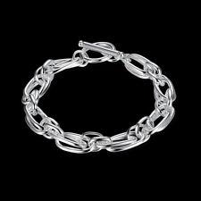 Massive Armband Sterlingsilber pl. 925 Silberarmband 10mm b16c