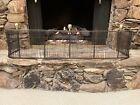 Antique Fireplace Fender Screen Brass & Iron Wire Design Federal W Brass Finials