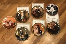 Norman Rockwell 7 Collector Plates 5 W/Certificate Of Authenticity Free Shipping
