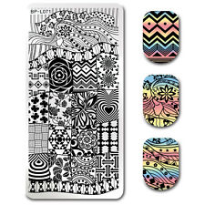 BORN PRETTY Rectangle Nail Art Stamping Template Flower Star Image Plate BP-L071