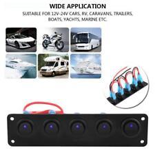 5 Gang 12V/24V Blue LED Rocker Switch Panel Car RVs Marine Boat Circuit Breaker