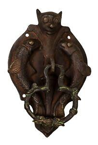Bat with Fish Shape Door Bell Victorian Finish Handcrafted Brass Door Knocker