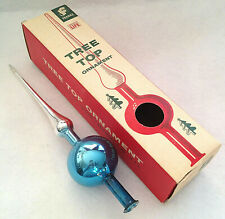 "Vtg Christmas BLUE & SILVER Mercury Glass Feather Tree Topper 10.25"" tall w/Box"