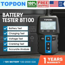 TOPDON BT100 12V Auto Car Battery Tester Charging System Cranking Test 2000CCA