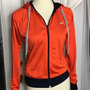 Nike Reversible Track Jacket Womens Medium Hoodie Full Zip Mesh Orange Blue M