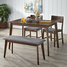 Mid-Century Dining Set Modern Kitchen Table Gray Fabric Chairs Bench Retro Mod