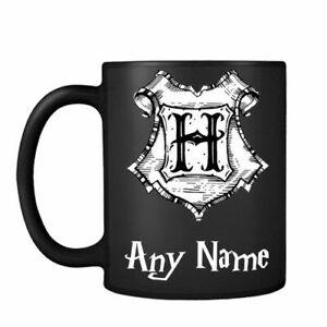 Personalised Harry Potter Hogwarts H themed Black Satin Mug Christmas birthday