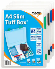 NEW A4 SLIM TUFF BOX STRONG TRANSPARENT STORAGE FILING DOCUMENT BOX BY TIGER