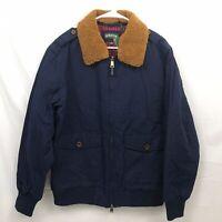 Orvis Jacket Coat Mens Medium Navy Blue Full Zip Fur Collar Cotton Nylon New