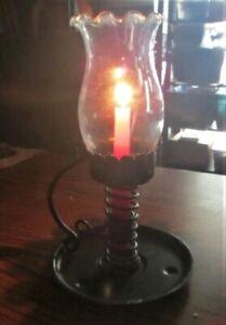 Vintage Handmade Rustic Adjustable Candle Holder Lamp w/Scalloped Glass Globe