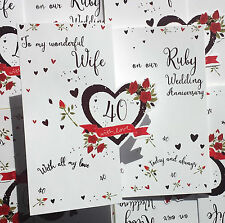 To my wonderful Wife on our Ruby Wedding Anniversary. Beautiful 40th Anniv. Card