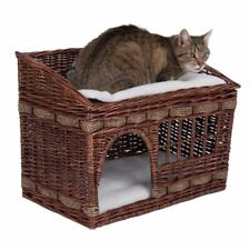 Small Wicker Basket Cat Den Tier2 Pet House Home Bed Double Cushions Brown Beige