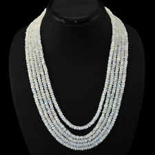 FINEST QUALITY RARE 519.30 CTS NATURAL 5 LINE WHITE MOONSTONE BEADS NECKLACE