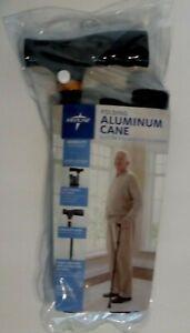 Medline Folding Aluminum Medical Walking Cane Adjustable w/Locking Collar