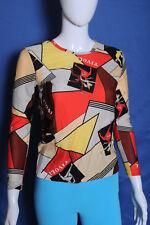 Vintage '70s Tivoli graphic nylon colorful dancer blouse top shirt S