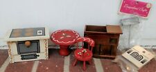 6Pc Dollhouse Miniatures-Mailbox-Hat Stand-Wood Stove & Dry Sink-Red Table/Chair
