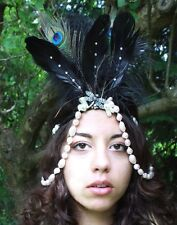 DRAGONFLY BEAD FEATHER FLAPPER HEAD DRESS HEAD BAND FESTIVAL FLOWER CROWN WICCAN