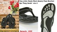 Tony Little Cheeks Black Memory Foam Barefoot Spa Thong Sandal  size 6 .Reg $39