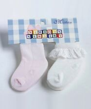 Lee Middleton Newborn Nursery 2 Pair of Socks Pink & White Lace New