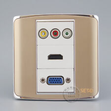 Wall Face Plate 3RCA AV + HDMI + VGA Assorted Panel Faceplate Outle Home Adapter