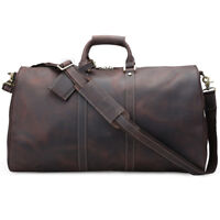Large Vintage Luggage Men Travel Duffle Gym Leather Tote Gym Bags Carry On Bag