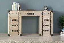 Rustic Trunk Design Wooden Aluminum Aviator Console Writing Office Desk Table