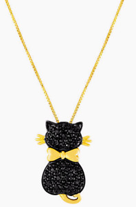 """1/10 CT. T.W. Color-Enhanced Black Diamond .925 Italy 18"""" Cat Necklace MSRP $125"""