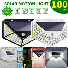 100 LED Solar Powered PIR Motion Sensor Light Outdoor Garden Security Flood Lamp