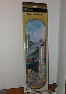 "Nostalgic Tin Metal Wall Thermometer THOMAS KINKADE NEW 17.5"" Indoor/Outdoor"