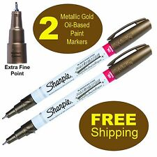 2 Each, Metallic Gold Sharpie Oil Based Paint Marker 35532, Extra Fine Point