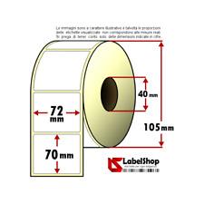 Rotolo da 700 etichette adesive mm 72x70 Carta Vellum 1 pista anima 40