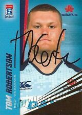 ✺Signed✺ 2017 NSW WARATAHS Rugby Union Card TOM ROBERTSON Gold