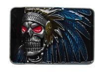 Boucle de ceinture tête de mort indien avec plume, étain.