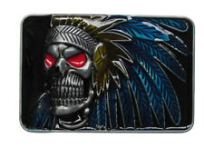 Belt Buckle Skull Indian with Feather, Pewter