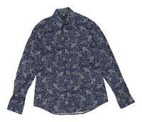 H&M Mens Size M Cotton Blend Paisley Blue Casual Shirt