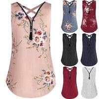 AU Women Sleeveless Tank Top Cross Back Hem Layed Zipper V-Neck Shirt Top Blouse