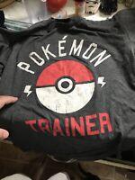 Official Nintendo Game Freak Pokemon Ball Trainer Grey Tshirt Size Small