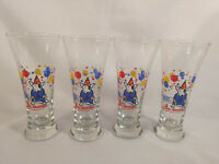 Set of 4 Vintage 1987 Bud Light Spuds Mackenzie Glass Beer Cup Anheuser-Busch